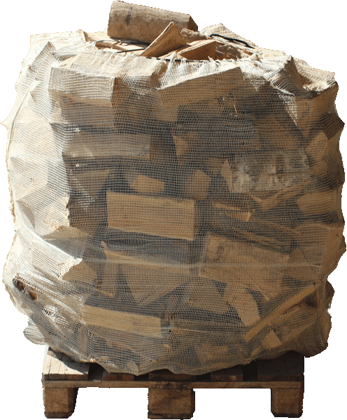 Verpacktes Holz auf Palette 1000 Liter